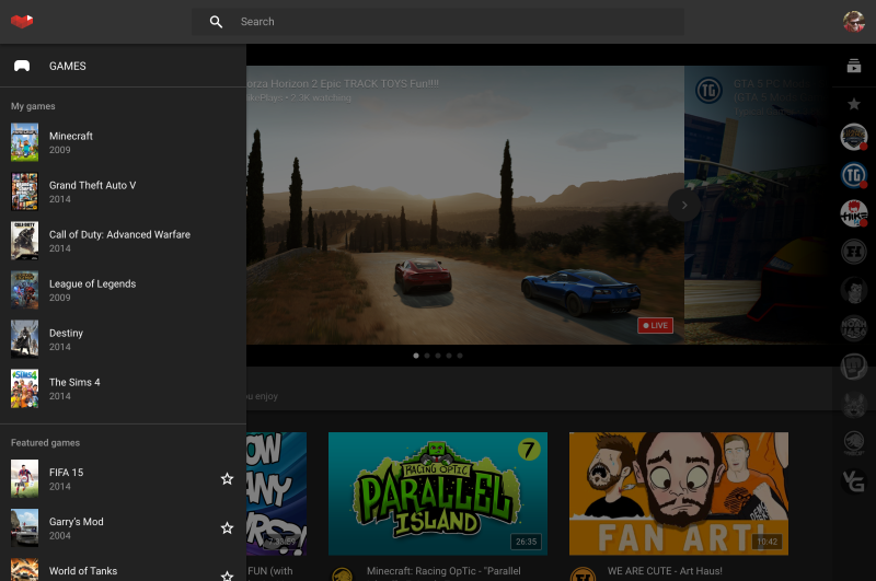 YouTube will enable you to build a list of games that you enjoy.