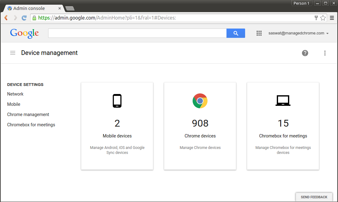 The Chrome Device Management Console.