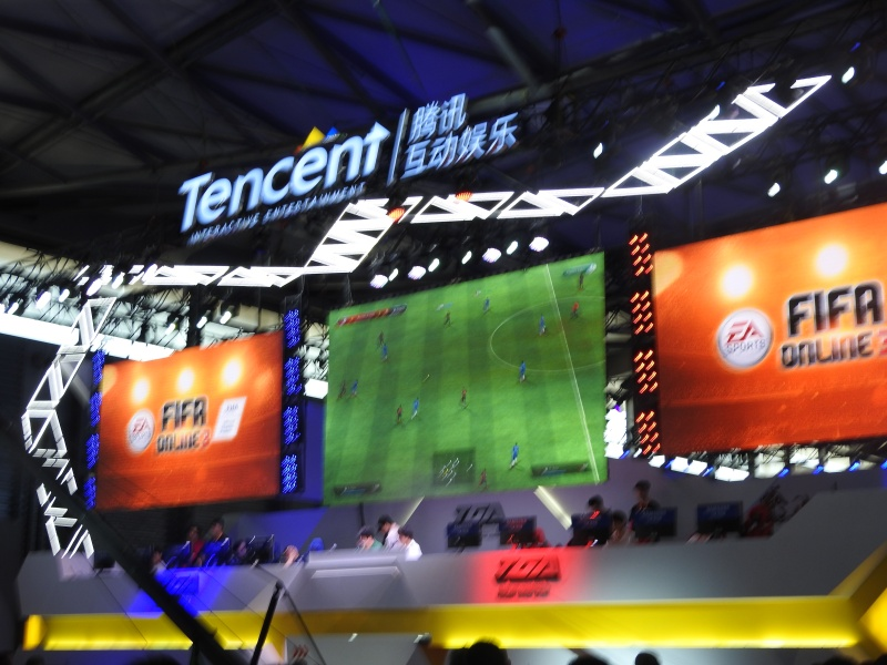 Tencent's booth at ChinaJoy 2015. Tencent is China's biggest game company.