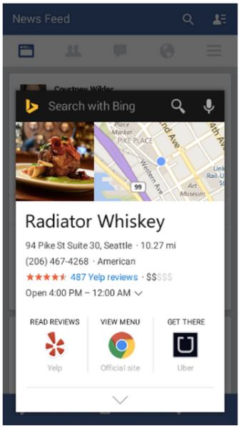 When the Bing Search app is installed on your Android device, you can now surface knowledge from Bing about whatever you're currently looking at, without leaving the app you're in.