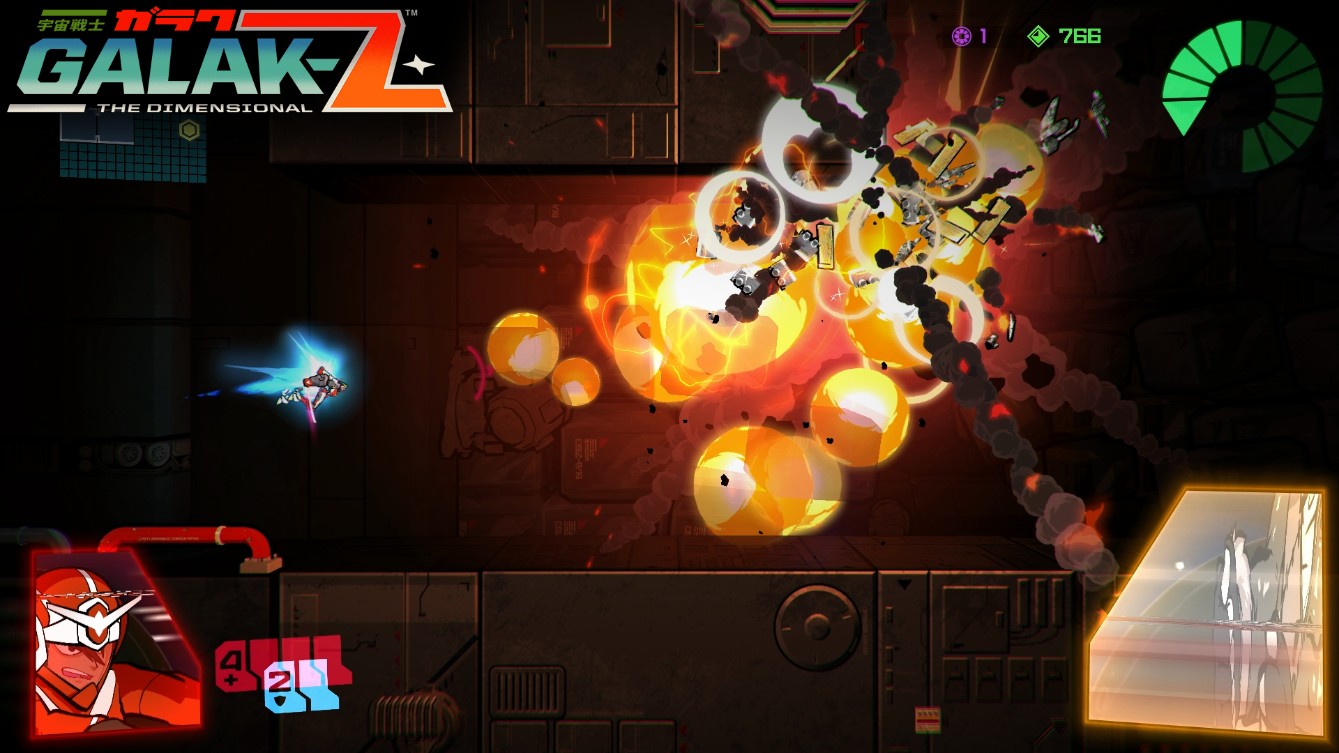 How much you're treated to Galak-Z's spectacular explosions depends on how many missiles you have left.