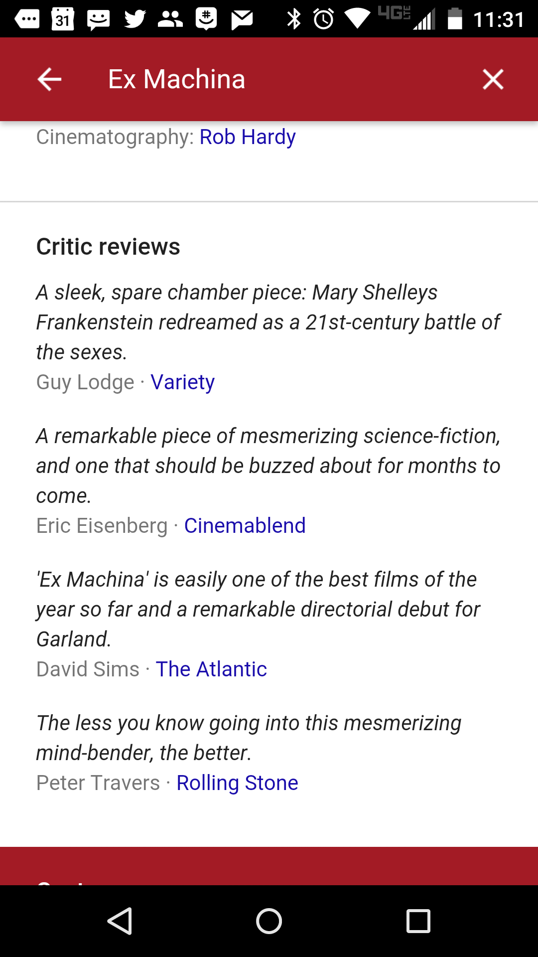 """Reviews of """"Ex Machina"""" in Google search results on an Android smartphone. This sort of content will show up when people search for TV shows and books later this year."""