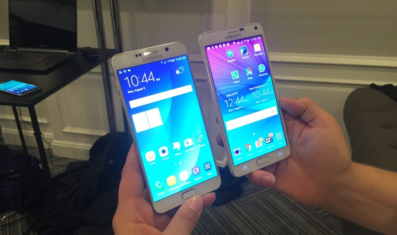 The smaller Samsung Galaxy Note 5 on the right, and the Galaxy Note 4 on the left.