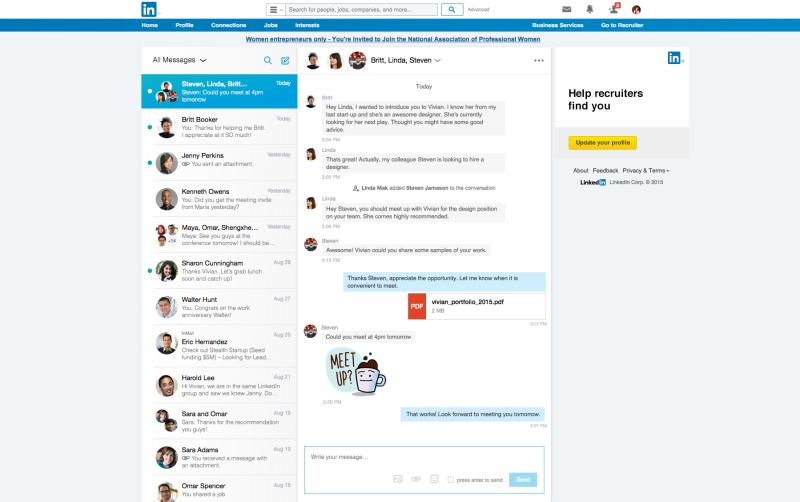LinkedIn messaging experience 2