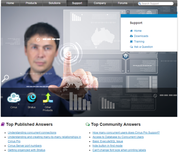 An Oracle mockup screen sbowing both Community and knowledgebase answers.