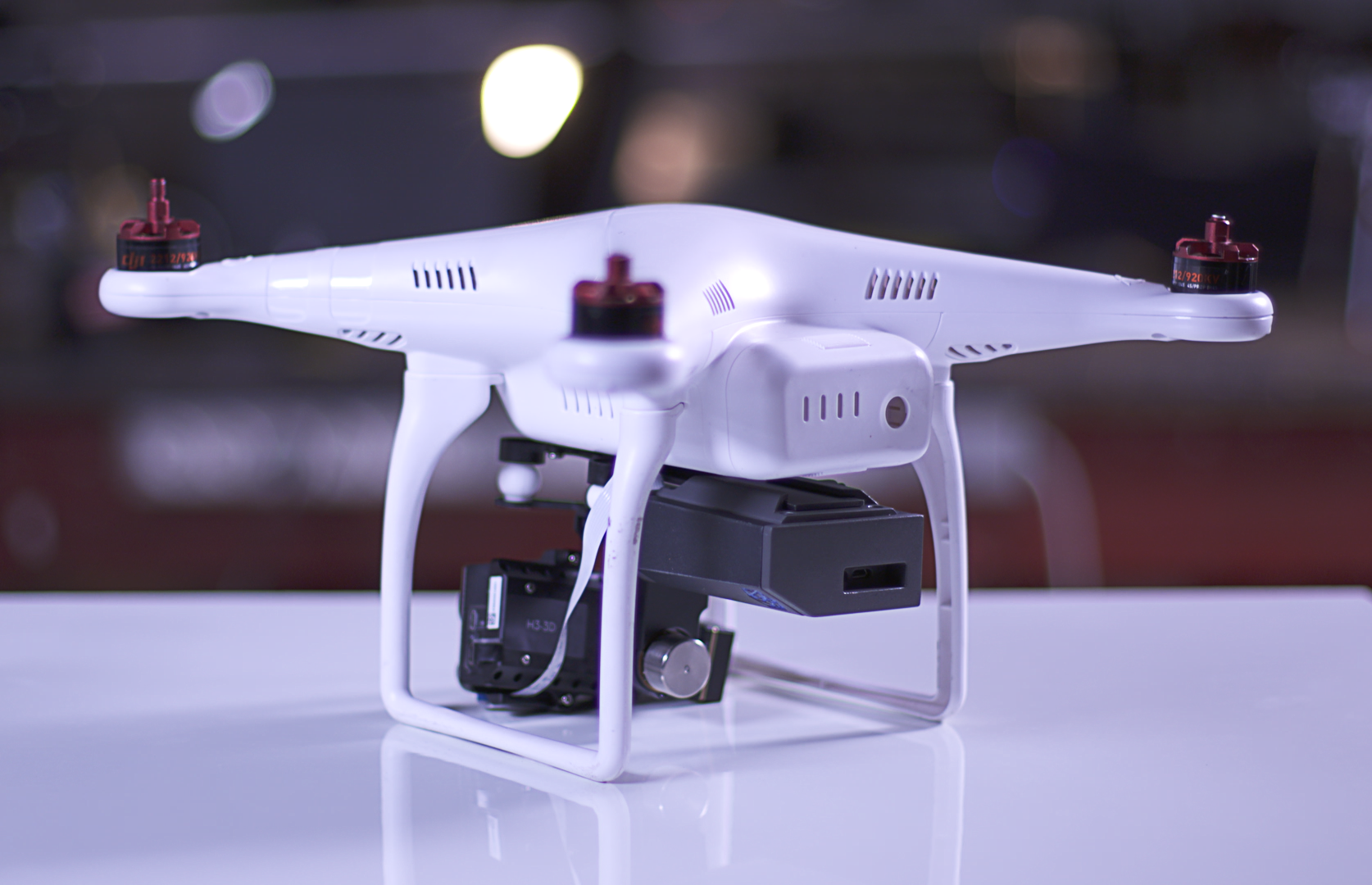 The Percepto unit is the black box mounted on the right on the underside of this DJI Phantom drone.