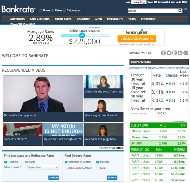 Video recommendations from Prizma on the Bankrate site