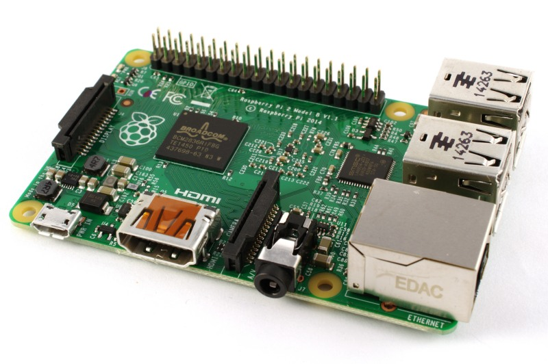 A Raspberry Pi 2 board.