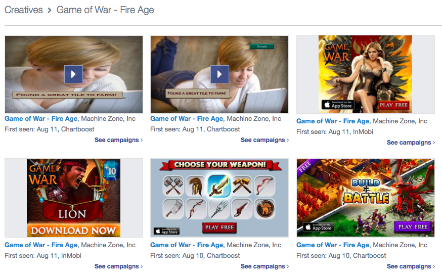 Game of war ads