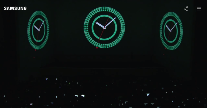 Samsung teases the new S2 smartwatch at a press event in New York Thursday morning.