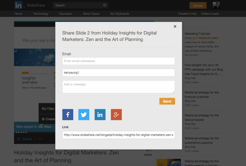 LinkedIn SlideShare clipping feature - sharing option