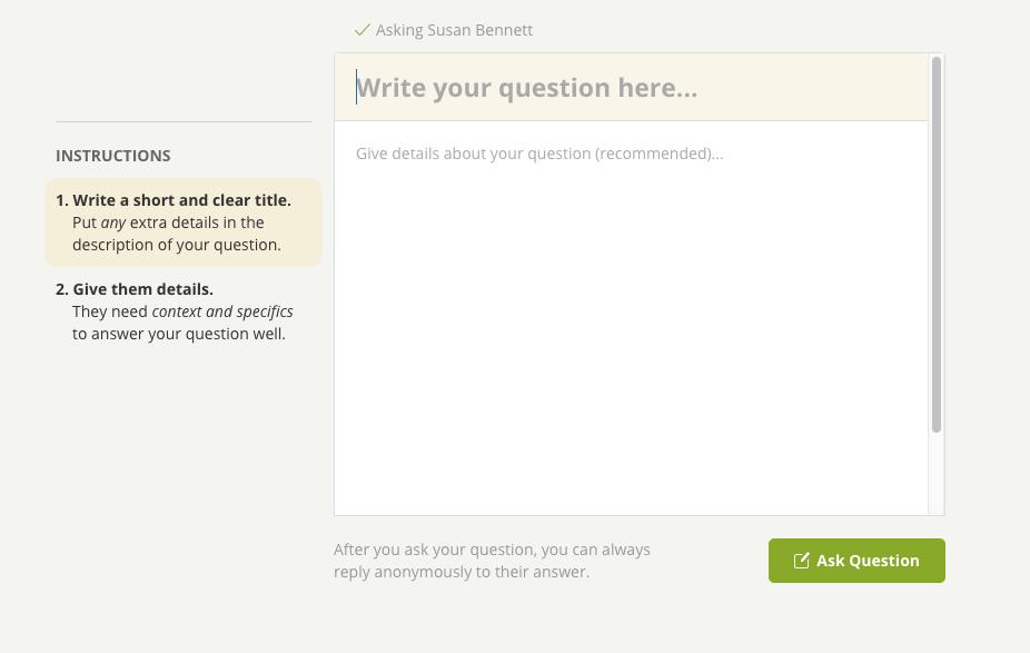 Wiselike Q&A dialog box
