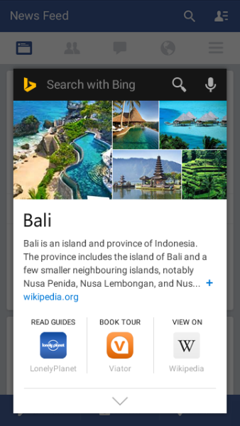 A card from the Bing app popping up within the Facebook app on Android.