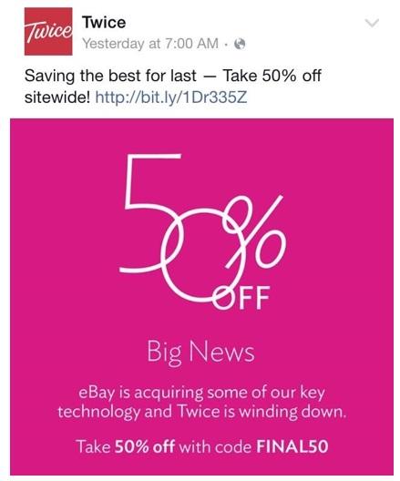 Twice sale tweet