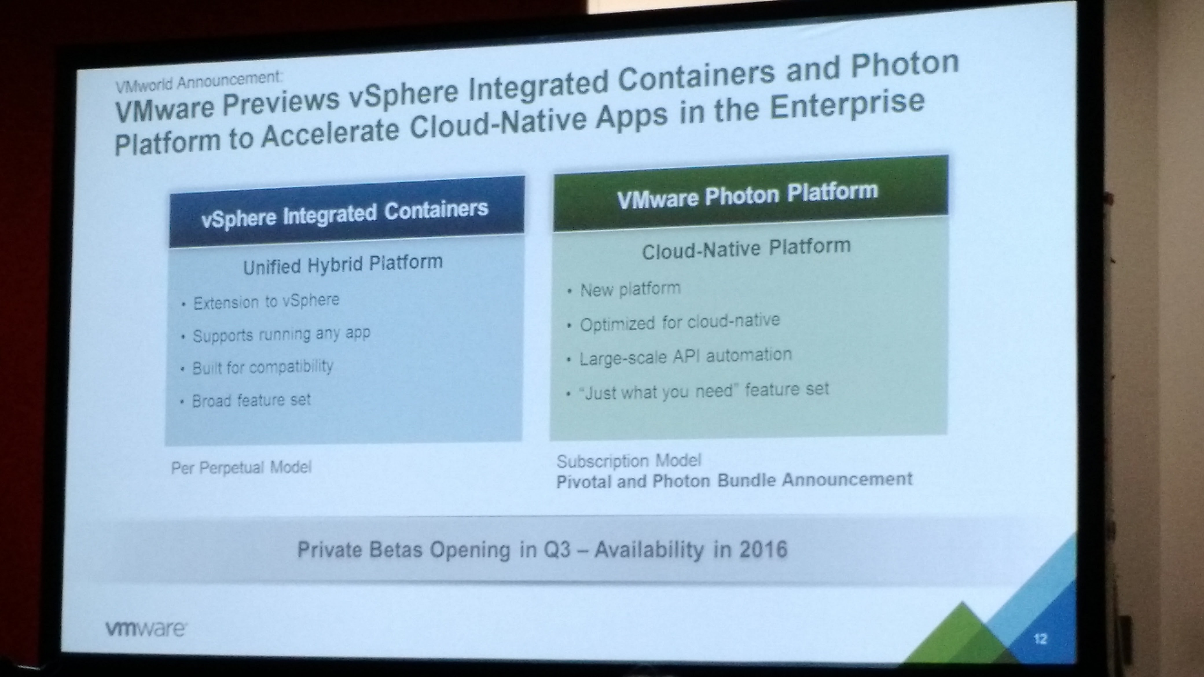 Some detail on vSphere Integrated Containers and Photon Platform from a press conference before the first day's general session at the 2015 VMworld conference in San Francisco on Aug. 31.