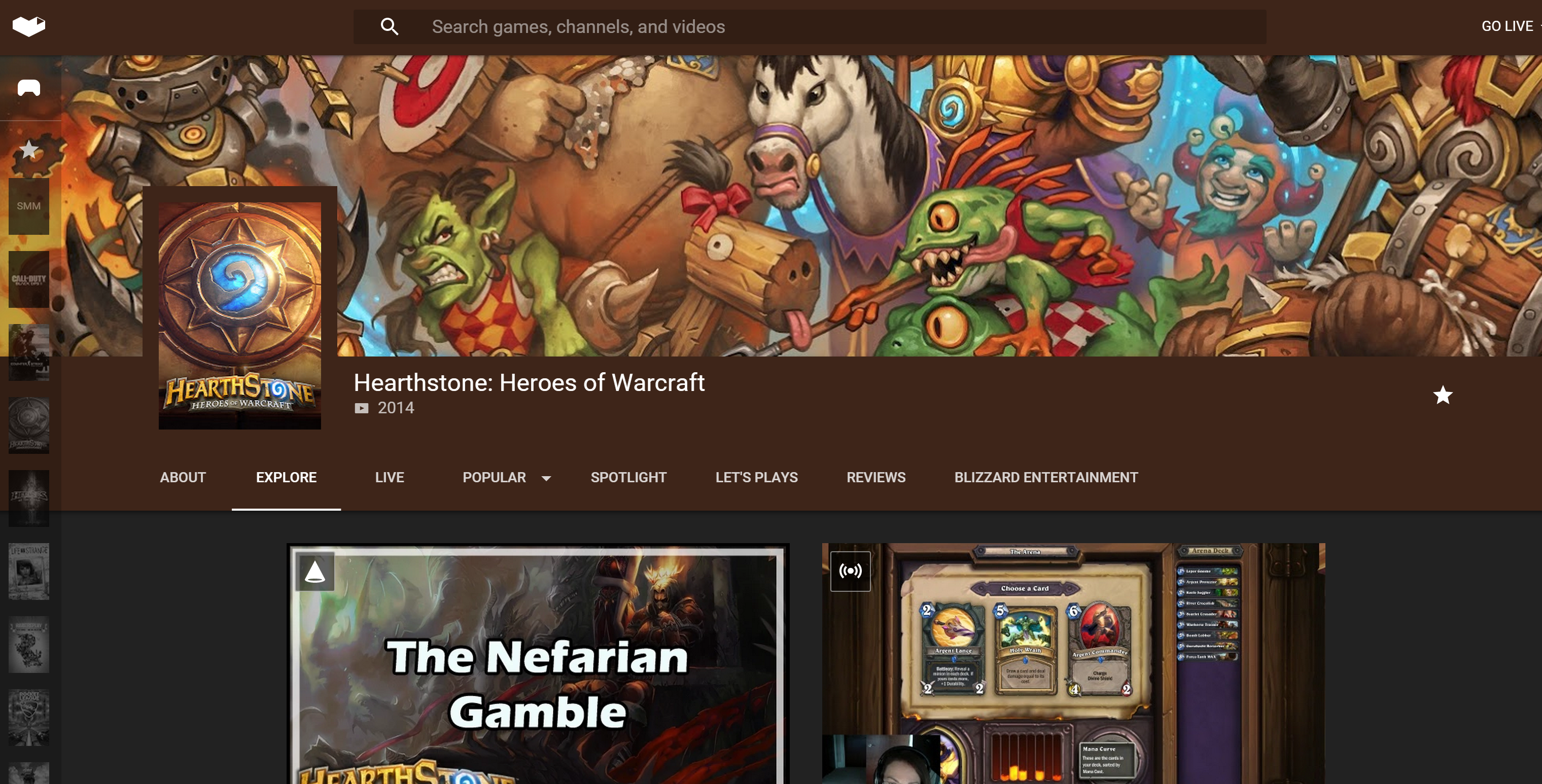 The Hearthstone hub page on YouTube Gaming.