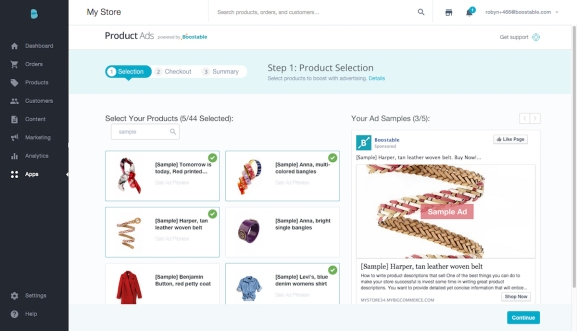 A screen in Bigcommerce's new Product Ads tool