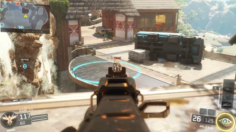 Call of Duty: Black Ops III in action. In Domination, your team has to hold three spots on the map.