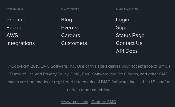 BMC mentioned at the bottom of Boundary's website.