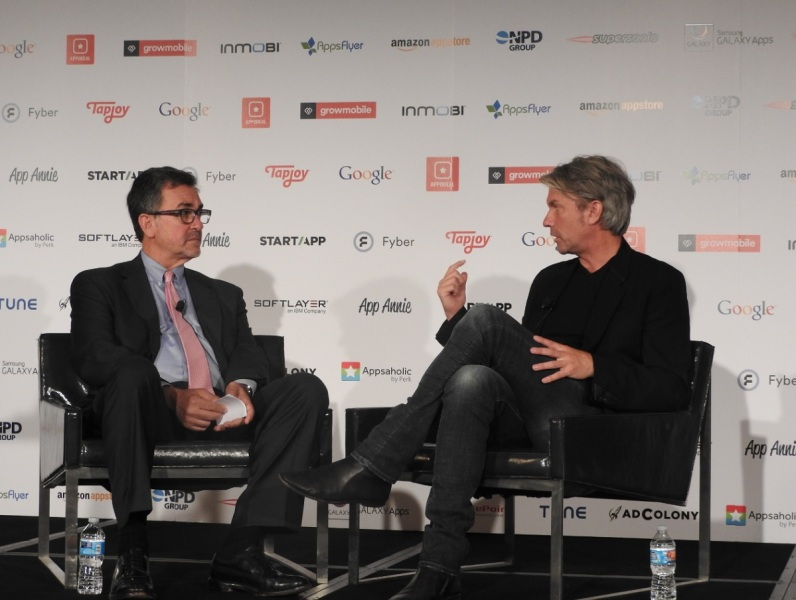 Michael Pachter of Wedbush and Chris DeWolfe of SGN at Casual Connect.
