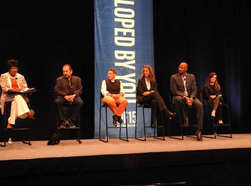 Intel diversity panel with Roz Hudnell on left. Left to right: Tim Bajarin, Caryl Shaw, Lisa Lambert, Howard Wright, and Sandra Lopez.