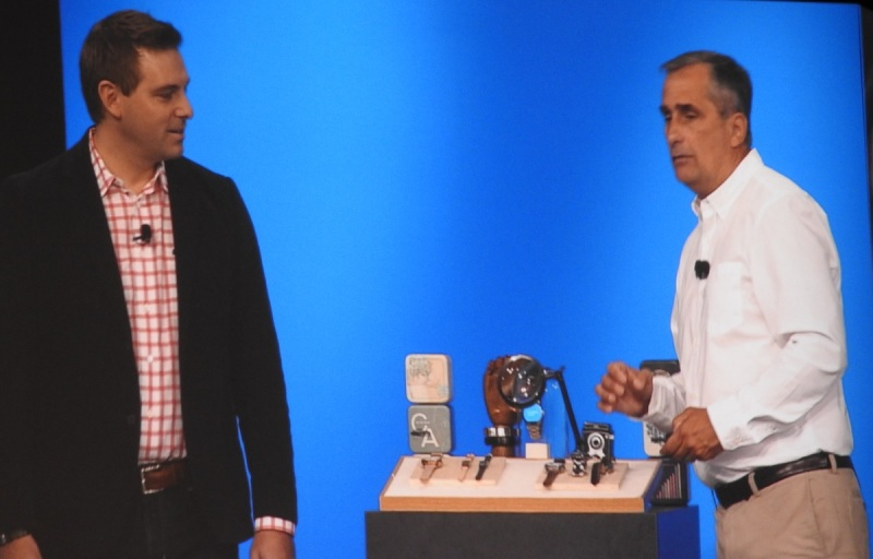 Fossil's Greg McKelvey and Intel's Brian Krzanich.