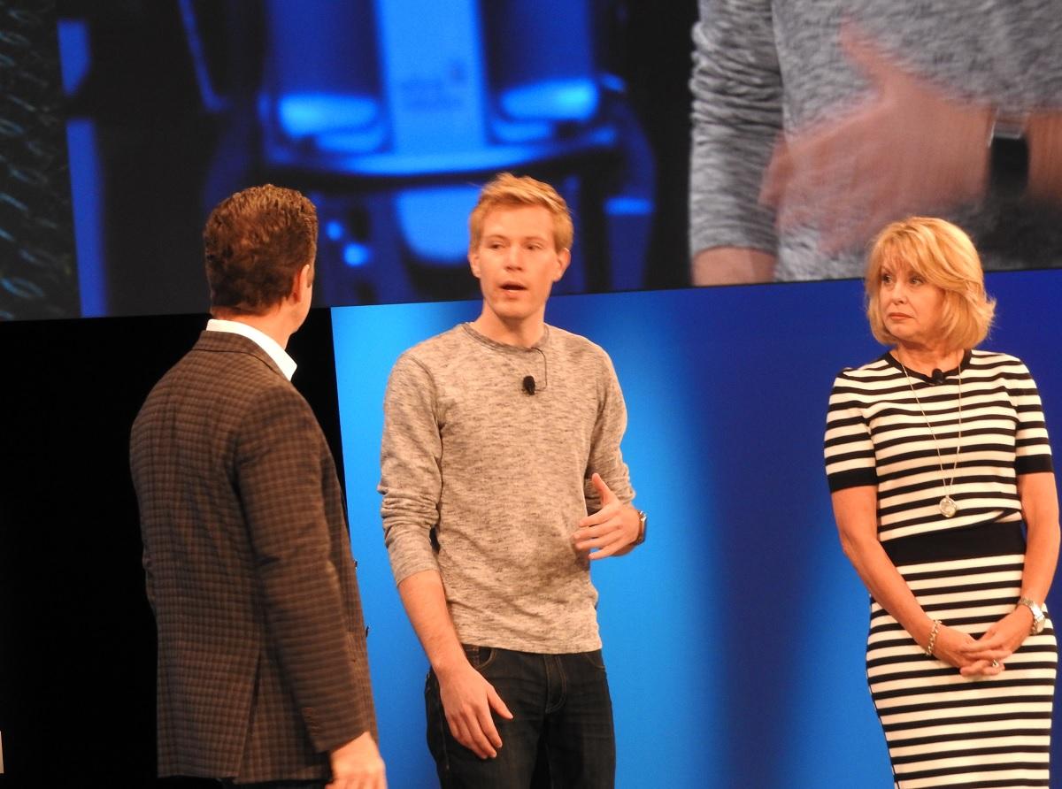 Intel execs Doug Davis and Diane Bryant greet Jesse Vollmar of Farmlogs.