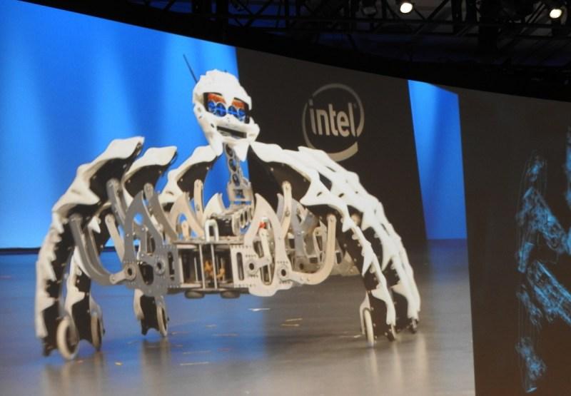 Intel dancing robot spider.