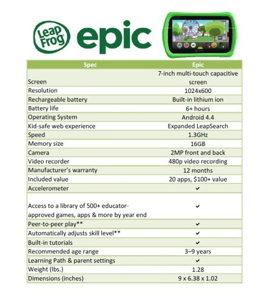 LeapFrog Epic tablet specs