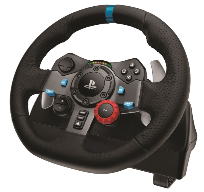 Logitech G29 force feedback racing wheel.