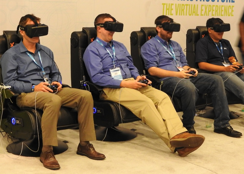Demos of the Oculus Rift virtual reality goggles at the Intel Developer Forum.