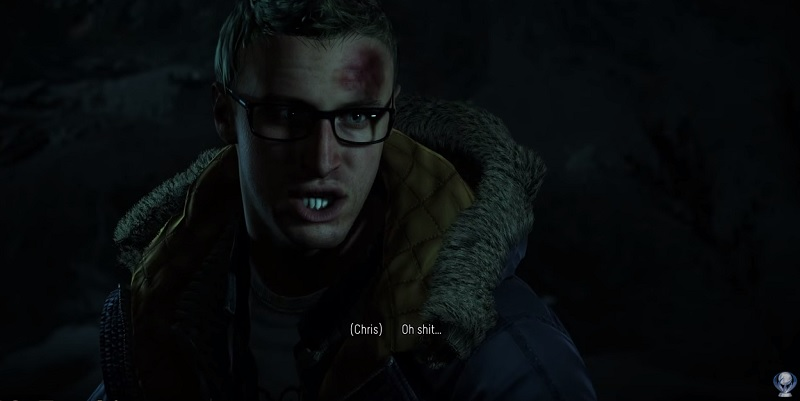 Chris is in trouble in Until Dawn.