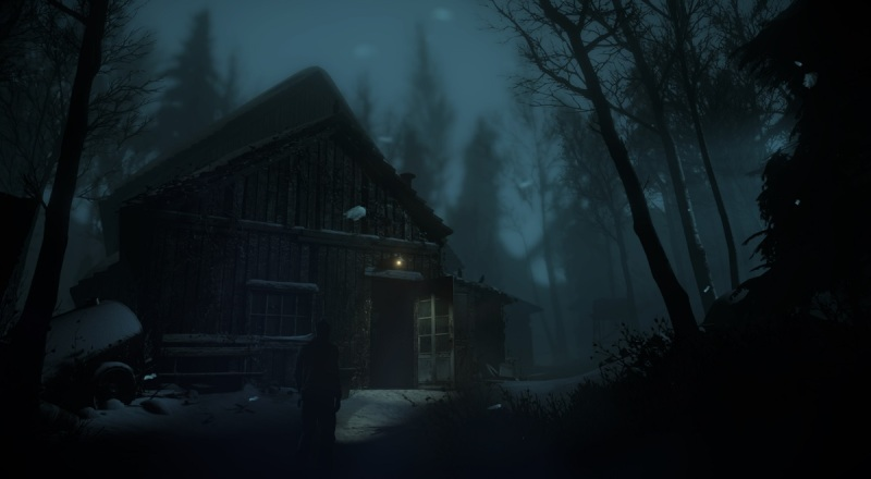 Chris approaches an ominous barn in Until Dawn.