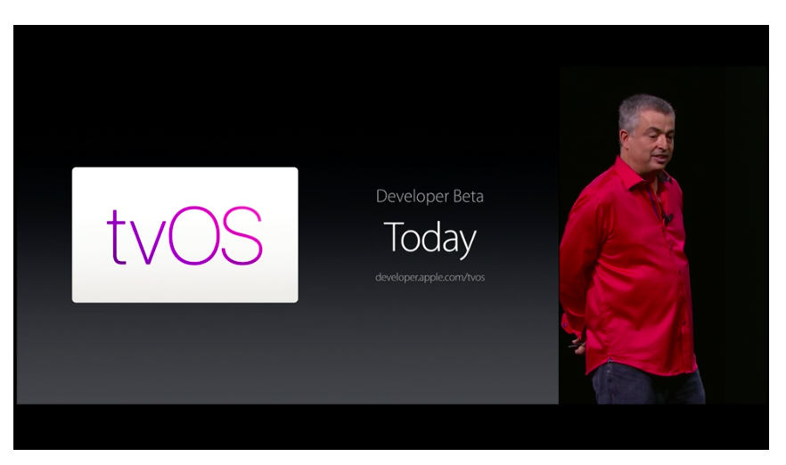 "Apple's Eddy Cue announces the availability of tvOS for the new Apple TV at Apple's ""Hey Siri"" event in San Francisco on Sept. 9."