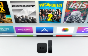 The new Apple TV, with set-top box and remote.