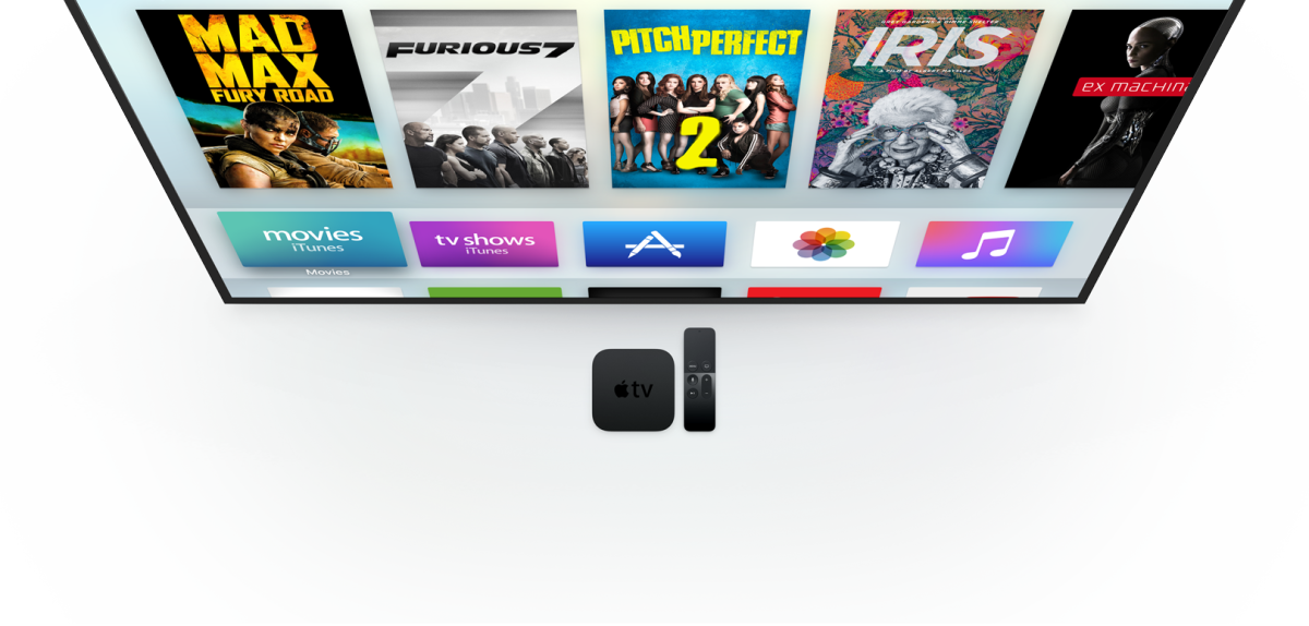 The new Apple TV, with set-tup box and remote