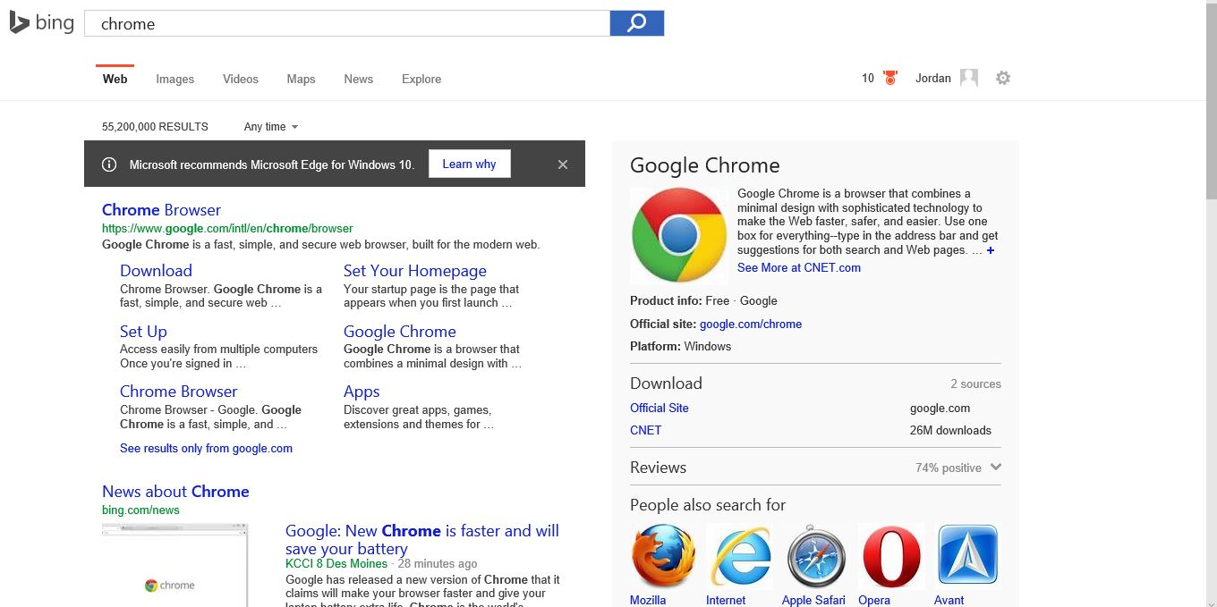 "What I saw in Bing in the Edge browser the first time I searched for ""chrome"" on a new computer running Windows 10."