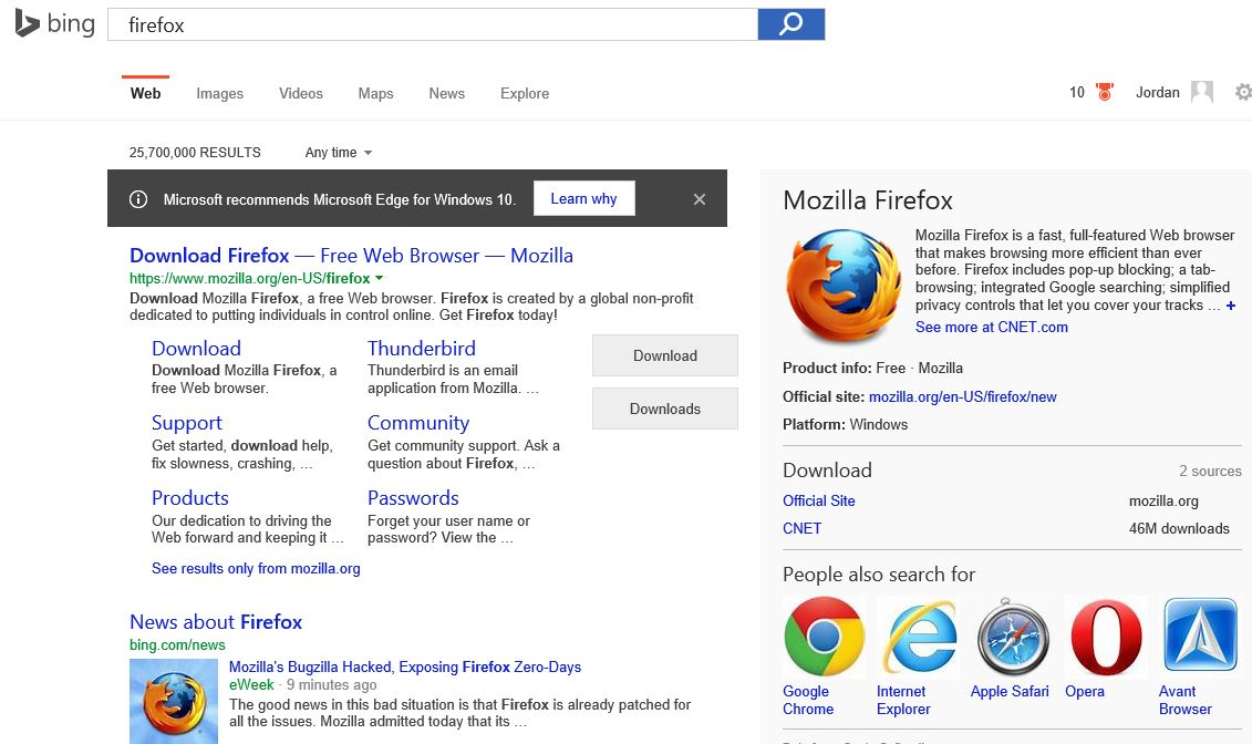 "What I saw in Bing in the Edge browser the first time I searched for ""firefox"" on a new computer running Windows 10."