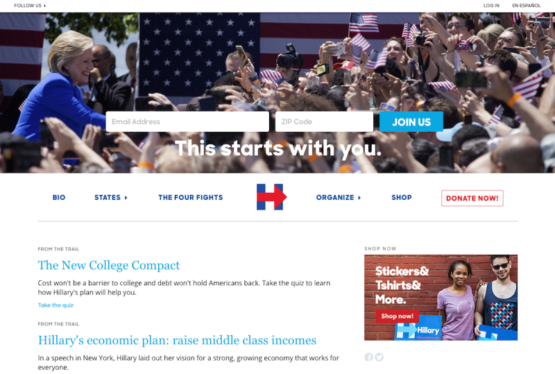Hillary Clinton's home page in 2016, with content updates.