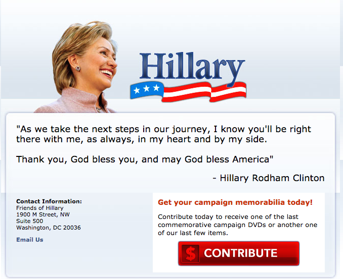 Hillary Clinton's home page in 2008