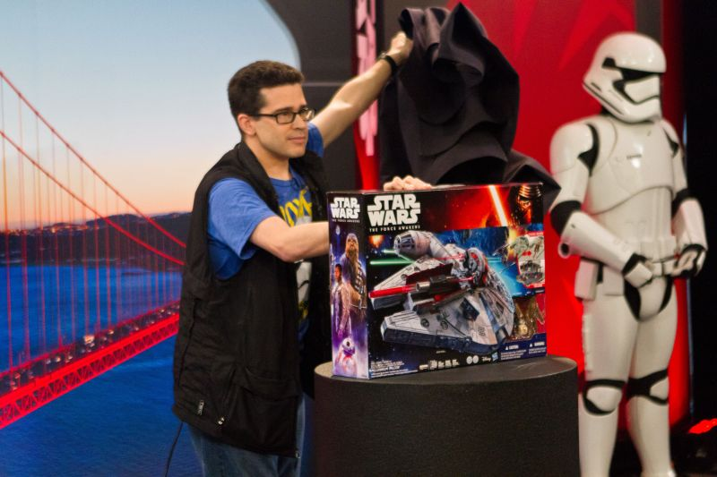 YouTube personality Chris Pirillo unveils the last toy to be unboxed during Disney's 18-hour livestream event: the Millenium Falcon
