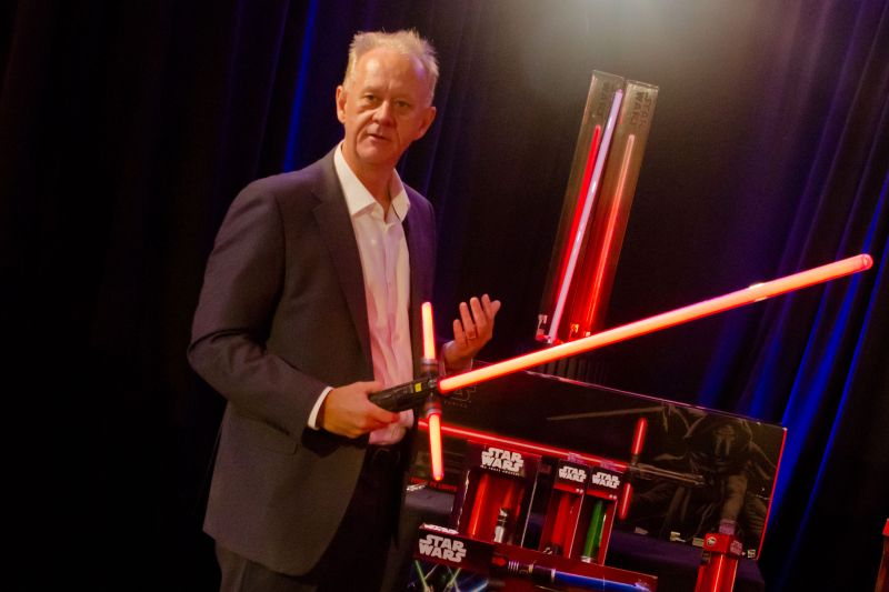 "Lucasfilm's Paul Southern shows off the lightsaber used by Kylo Ren in Star Wars' ""Force Awakens""."