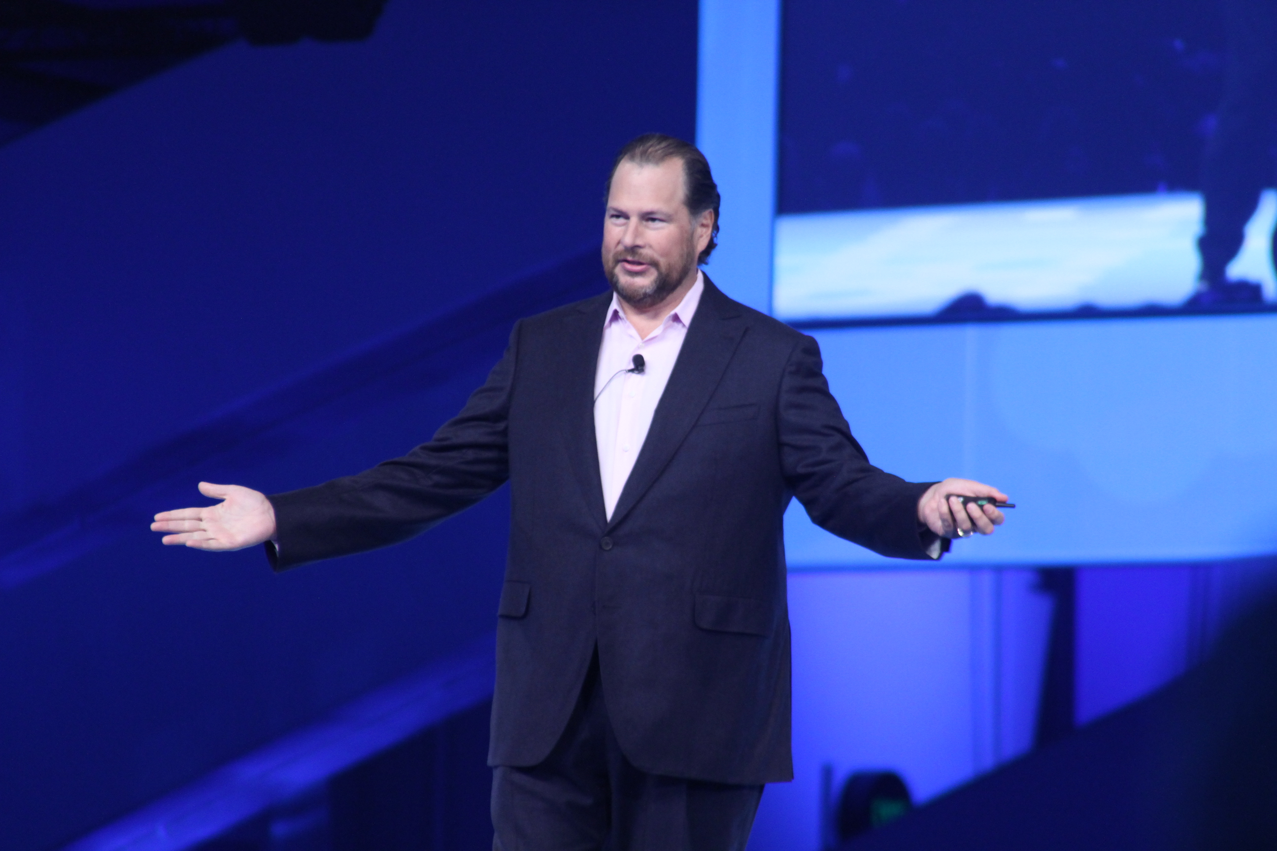 Salesforce CEO Marc Benioff delivering his keynote address at the Dreamforce conference on September 16, 2015 in San Francisco, CA.