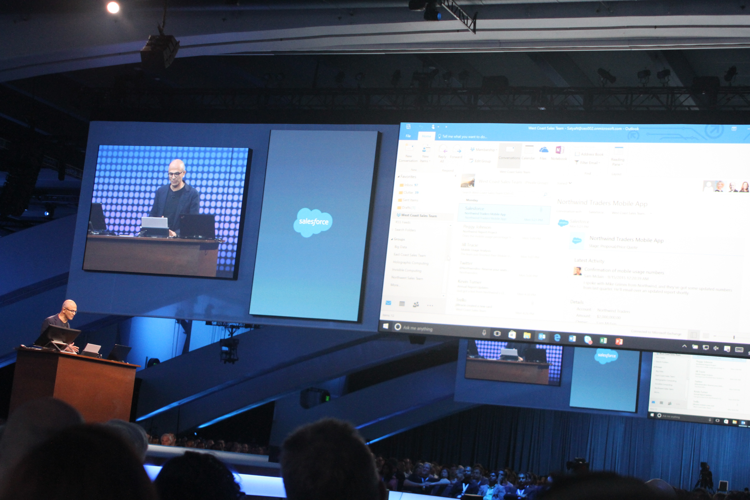 Microsoft chief executive Satya Nadella speaks at Salesforce's 2015 Dreamforce conference in San Francisco on Sept. 16.