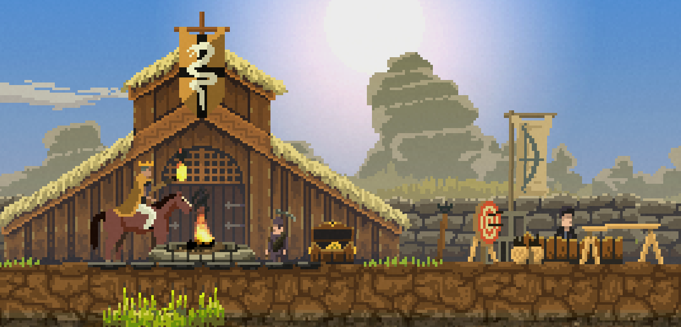 Kingdom is retro-looking pixel art, but with modern effects like the pretty, reflective water.