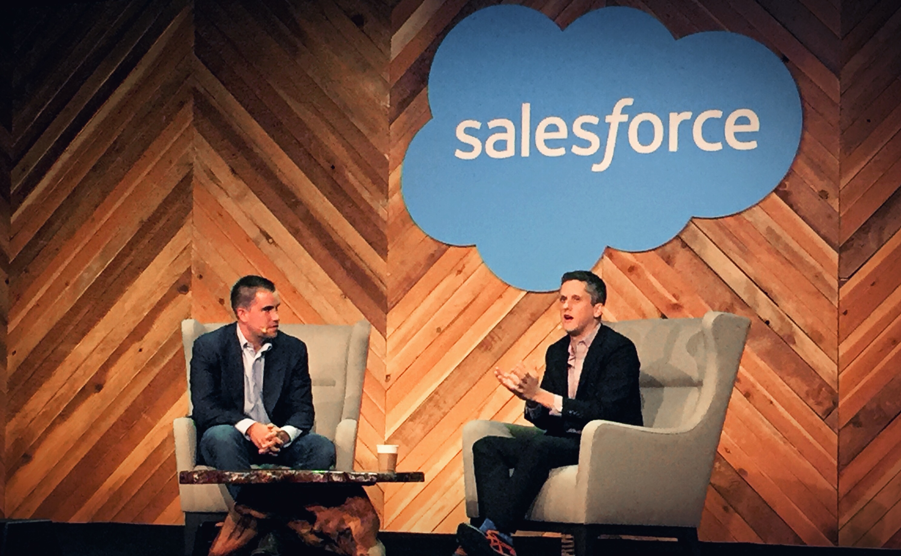 Box CEO Aaron Levie and Salesforce IQ Steve Loughlin at Dreamforce 2015. Levie participated in the inaugural keynote session for Startup Summit.
