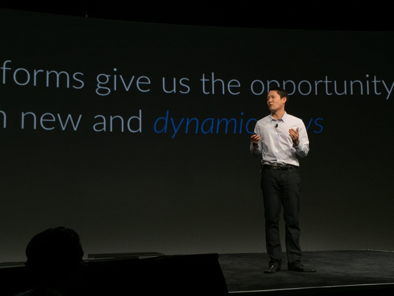Box's Vice President of Platform Chris Yeh speaking on stage at BoxWorks conference on September 29, 2015.
