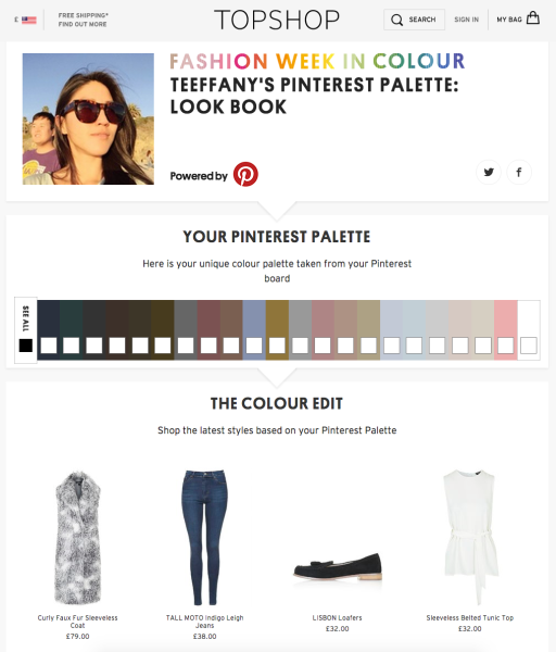 Pinterest Palette & Topshop clothing recommendations
