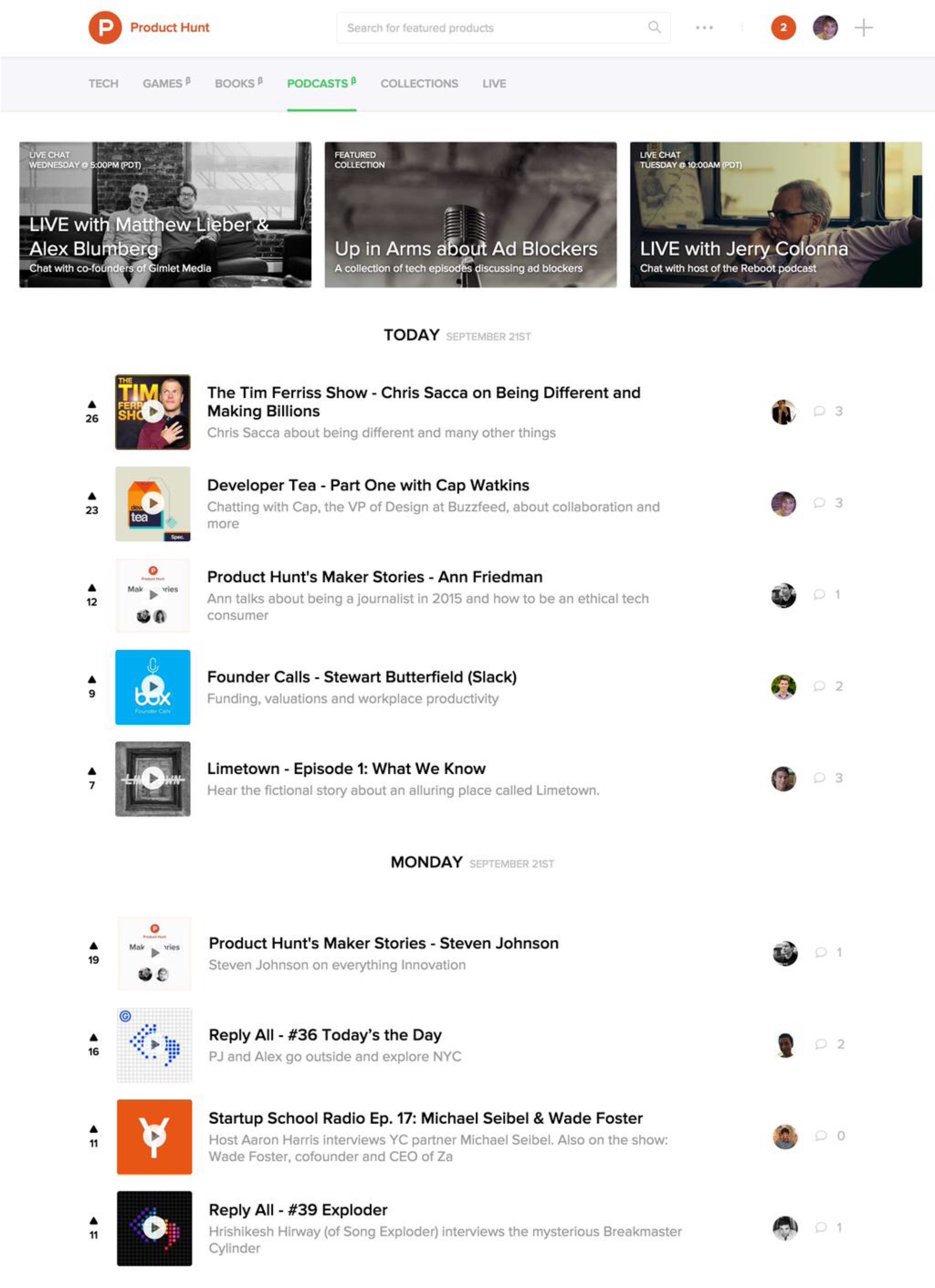 Product Hunt's new Podcasts section.