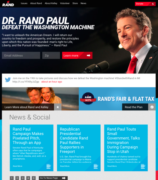 Rand Paul's website, with tweets in the middle of the page.